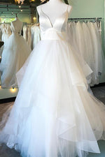 Long Spaghetti Strap A-line White Bridal Dress with Ruffles