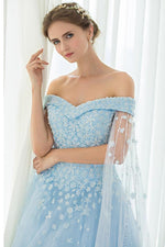 Off Shoulder Appliques Lace-Up Sky Blue Long Prom Dress