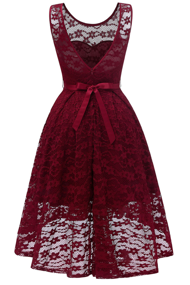 V-Neck Hi-Low Burgundy Party Dress with Ribbon