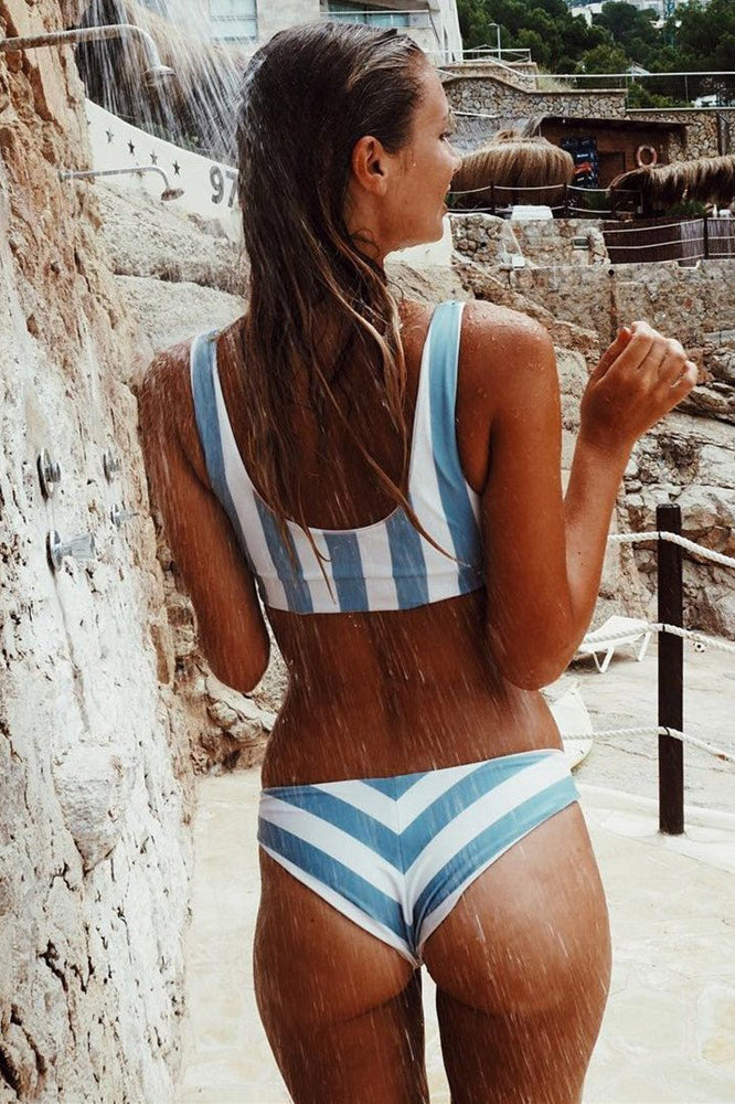 White and Blue Striped Two Piece Swimwear