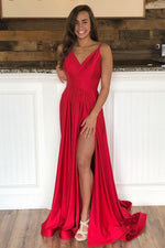 Spaghetti Straps Red Long Evening Dress with Open Back