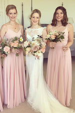 Simple Pink Straps Long Bridesmaid Wedding Party Dress