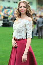 Two Piece Burgundy Long Prom Dress with White Lace Top