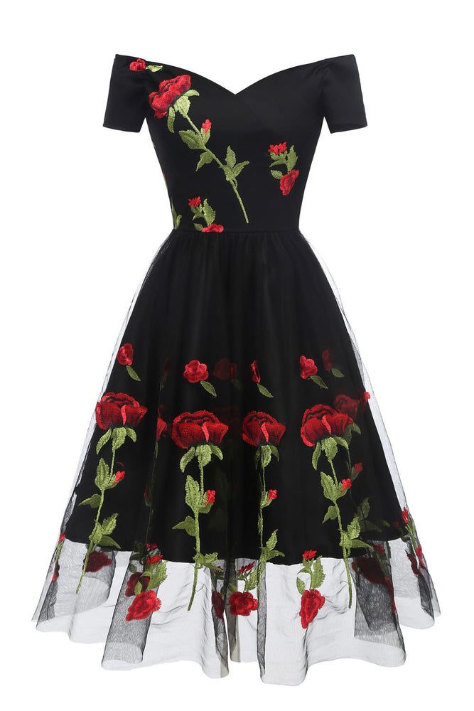 Retro Off the Shoulder Tulle Black Party Dress with Flowers