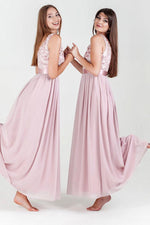 A-line Pink Lace Floor Length Bridesmaid Dress with Ribbon
