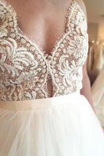 Long A-line Spaghetti Strap Ivory Wedding Dress with Lace
