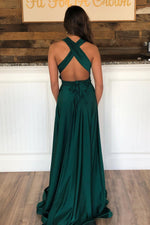 Plunging Neck Dark Green Long Evening Dress with Criss Cross Back