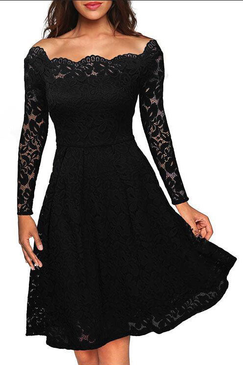 Off Shoulder Long Sleeves Lace Party Dress