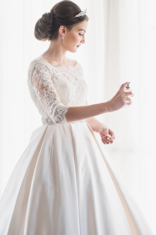 Princess Long Half Sleeves A-line White Wedding Dress with Beads
