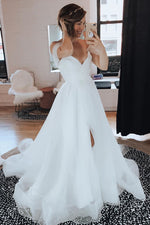 Simple Off the Shoulder Ruffled Wedding Dress with Split