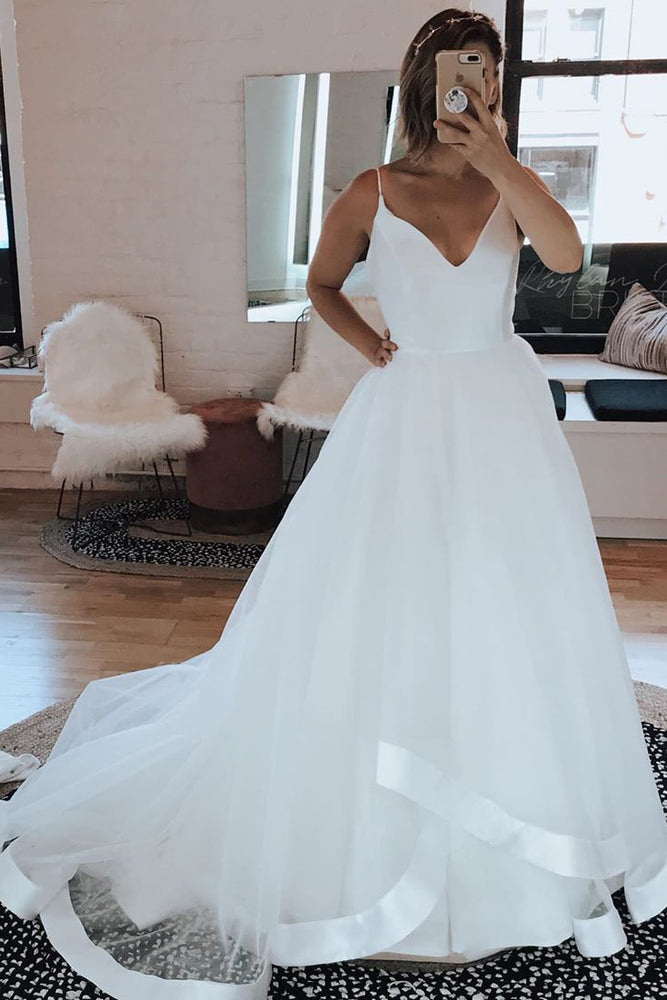 Long A-line Spaghetti Strap White Wedding Dress with Ruffles