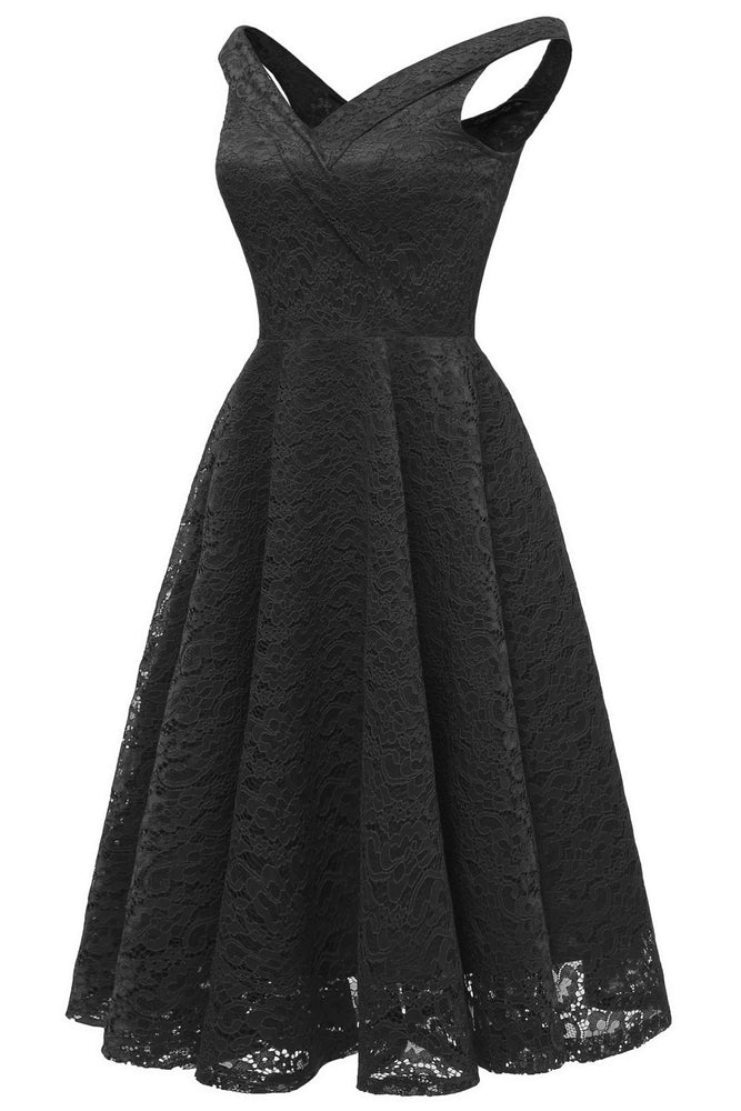 Straps Zipper Up Lace Black Short Dress