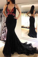 Sexy Mermaid Deep V Neck Black Evening Dress with Open Back