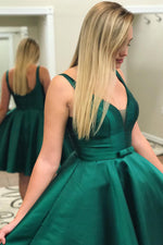 Cute Emerald Green Satin Homecoming Dress with Bow