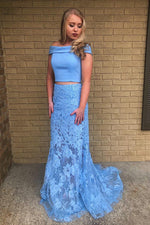 Two Piece Mermaid Off Shoulder Lace Sky Blue Prom Dress