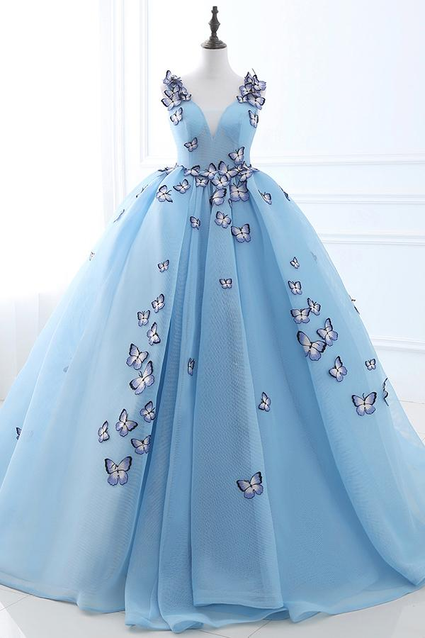 Blue Appliques Lace-Up Prom Evening Gowns