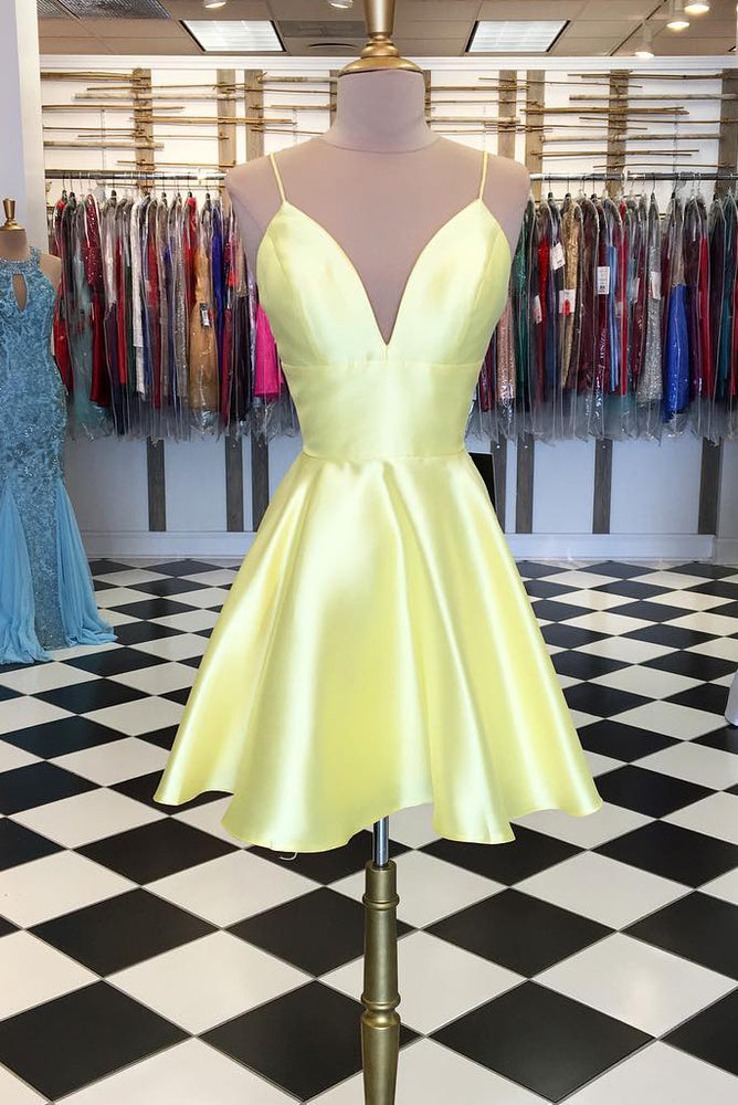 Spaghetti Straps Short Yellow Homecoming Dress