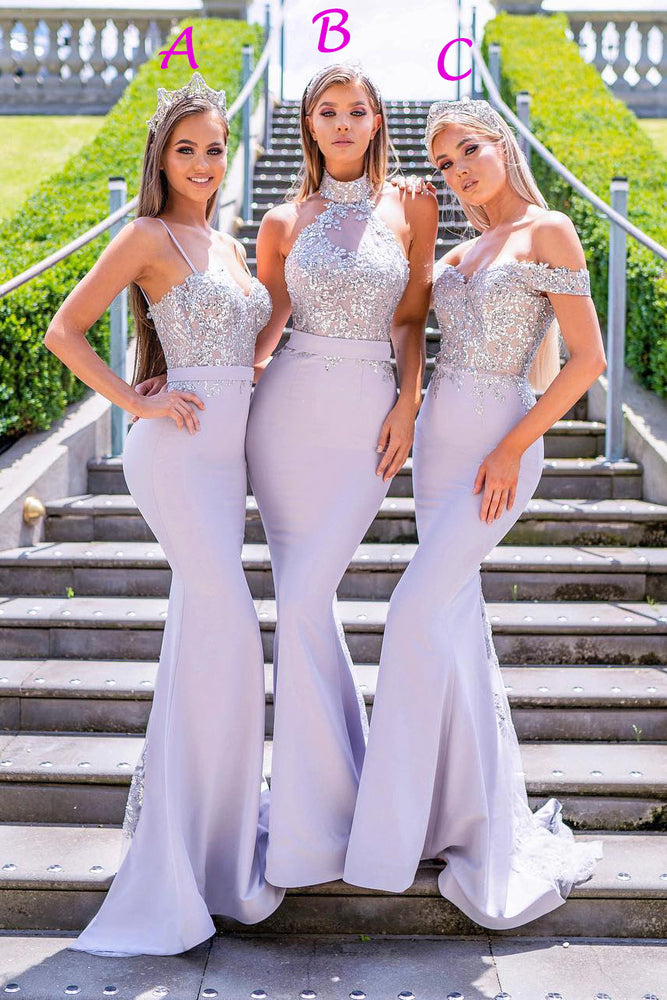 Mermaid Sequins Light Lilac Long Bridesmaid Dress