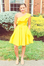 One Shoulder Yellow Homecoming Dress with Ruffles