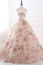 Illusion Neck Floral Tulle Lace-UP Prom Evening Gowns