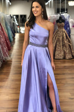 Elegant One Shoulder Lavender Prom Dress with Beading Belt
