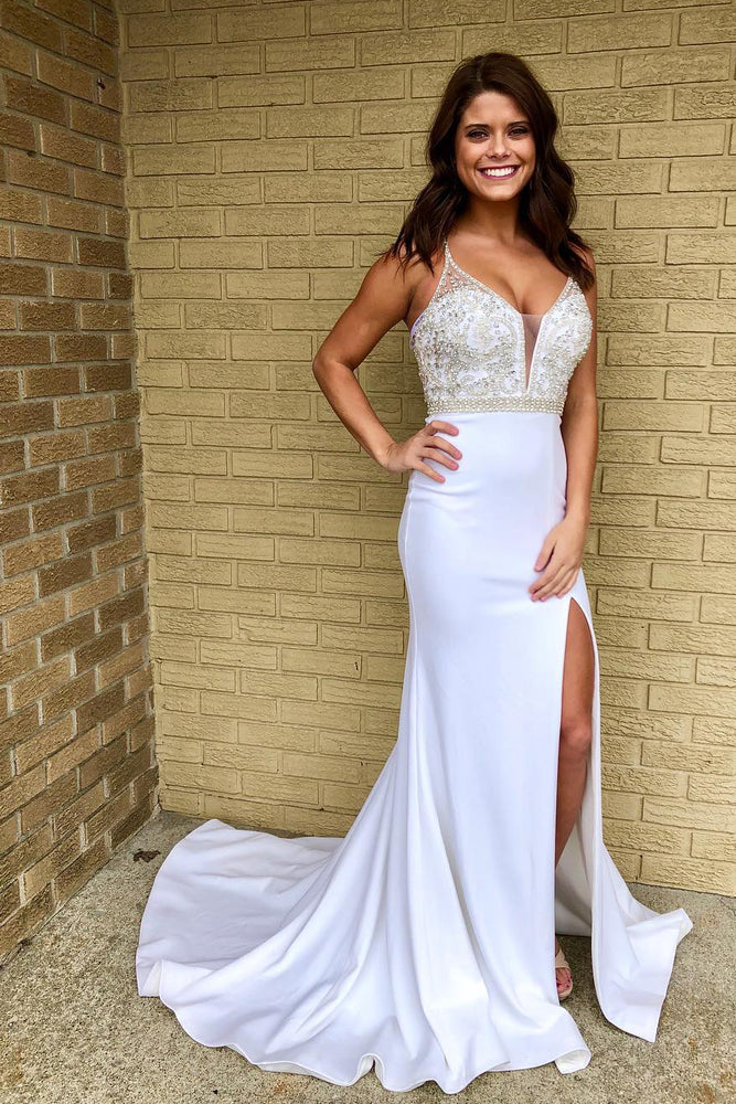 Mermaid Beading Long White Prom Dress with Slit