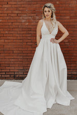 Simple Pleated Deep V White Wedding Dress with Train