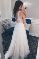 Long Illusion V Neck A-line Ivory Wedding Dress with Lace