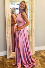 Beading Halter Long Pink Prom Dress with Slit