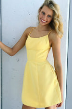 Double Spaghetti Straps Yellow Homecoming Dress with Lace Up Back
