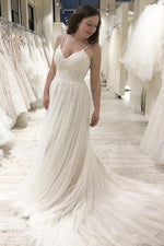 A-Line Spaghetti Straps Court Train Wedding Dress