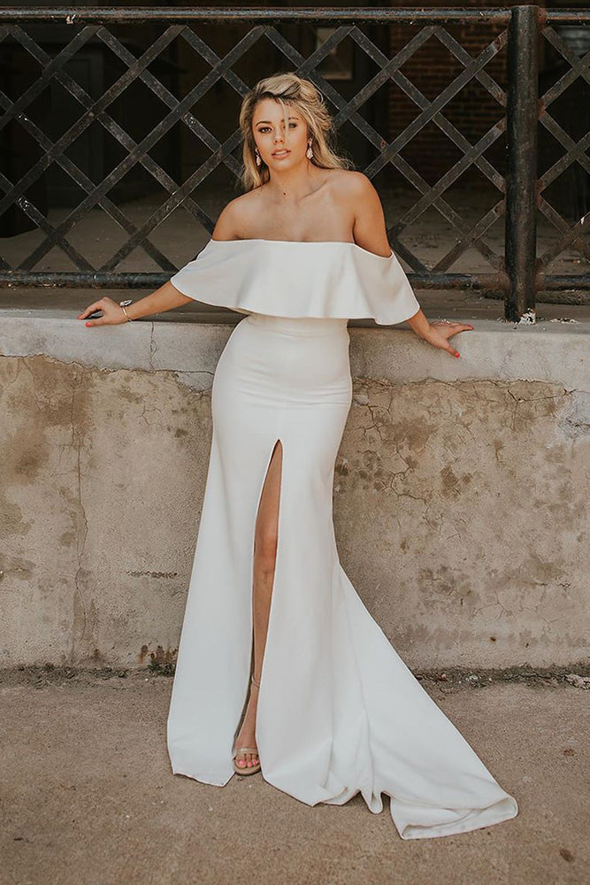 Mermaid Off the Shoulder Satin Wedding Dress with Slit