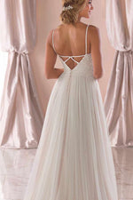 Long A-Line Spaghetti Straps White Wedding Dress with Lace Top
