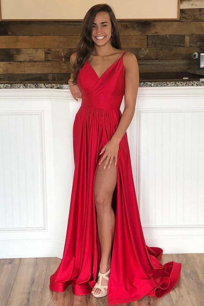 Elegant Red Satin Long Prom Dress with Slit