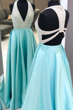 Plunging Neck Long Beading Ice Blue Prom Dress