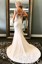 Long Sheath V-Neck Ivory Wedding Dress with Lace