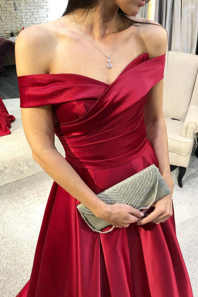 Elegant Off the Shoulder Red Long Prom Dress with Pleats