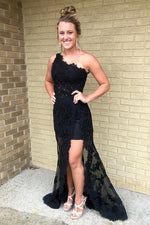 High Low One Shoulder Sheath Lace Black Prom Dress