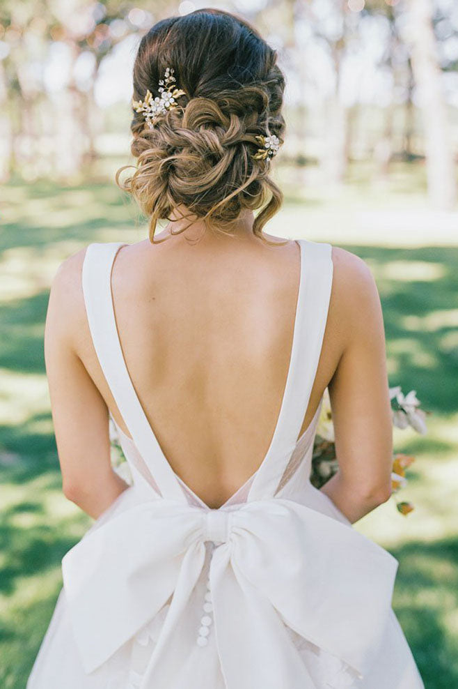 Long Open Back A-line V-Neck White Wedding Dress with Bowknot