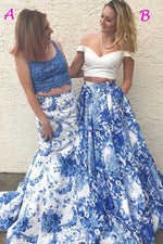 Two Piece Floral Print Navy Blue Long Prom Dress