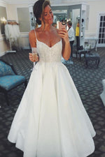 Long Spaghetti Strap A-line Ivory Wedding Dress with Lace