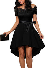 Off the Shoulder Ribbon Hi-Low Black Party Dress with Lace