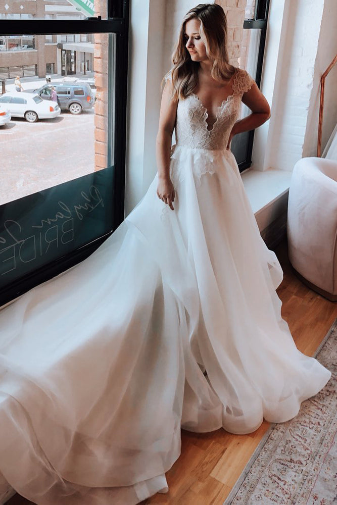 Cap Sleeves Open Back Chapel Train Wedding Dress with Lace Top