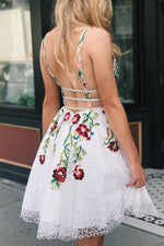 Plunging Neck Floral Embroidery White Homecoming Dress
