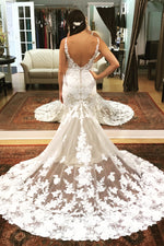 Long Mermaid Open Back Ivory Wedding Dress with White Lace