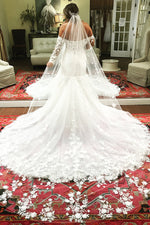 Long Mermaid Off Shoulder White Wedding Dress with Lace