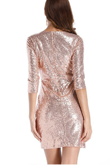 Sequins Half Sleeves Rose Gold Short Party Dress