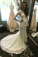 Mermaid Long Sleeves V-Neck Ivory Wedding Dress with Train