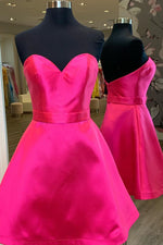 Simple Sweetheart Hot Pink Homecoming Dress with Ribbon