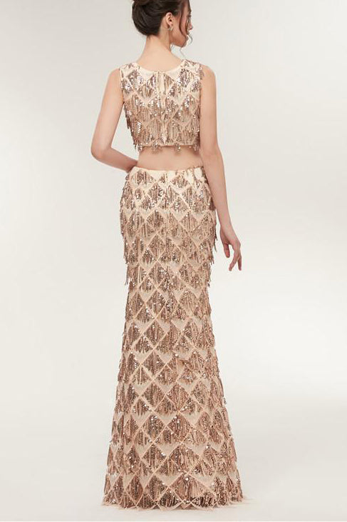 Two Piece Mermaid Champagne Gold Long Prom Dress